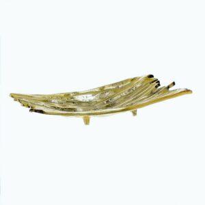 Φρουτιέρα πιατέλα αλουμινίου χρυσή Inart 33x18x5cm 3 70 653 0013