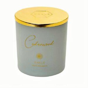 αρωματικο κερι με καπακι γκρι χρυσο cedarwood 210g b