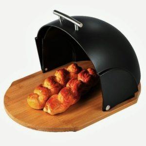 ξυλινη ψωμιερα με μαυρο πλαστικο καπακι 372622 estia 01 9328